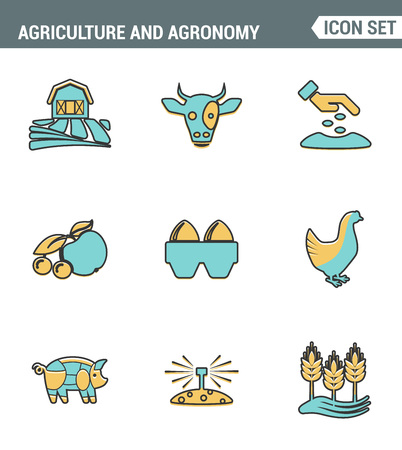agronomy: Icons line set premium quality of agriculture and agronomy icon farming feeding business. Modern pictogram collection flat design style symbol . Isolated white background
