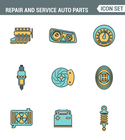 disk break: Icons line set premium quality of repair and service auto parts automotive tools garage. Modern pictogram collection flat design style symbol . Isolated white background