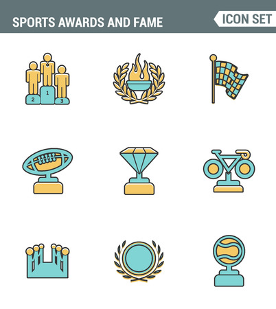 merit: Icons line set premium quality of awards and fame emblem sport victory honor. Modern pictogram collection flat design style symbol . Isolated white background Illustration