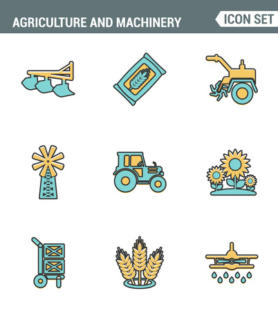 agriculture machinery: Icons line set premium quality of agriculture and machinery transportation tractor technology. Modern pictogram collection flat design style symbol . Isolated white background