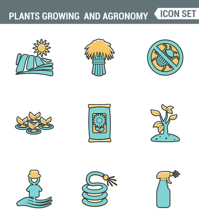 agronomy: Icons line set premium quality of plants growing and agronomy farming farmer bio stem. Modern pictogram collection flat design style symbol . Isolated white background