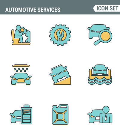 airbag: Icons line set premium quality of automotive services transportation technician system. Modern pictogram collection flat design style symbol . Isolated white background