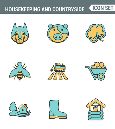 agronomy: Icons line set premium quality of housekeeping and countryside industry agronomy agriculture. Modern pictogram collection flat design style symbol . Isolated white background Illustration