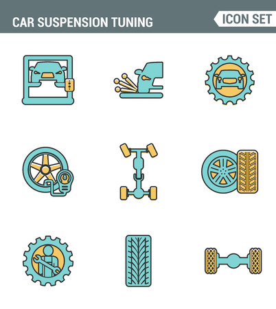 coil car: Icons line set premium quality of car suspension tuning transport mechanic garage repair. Modern pictogram collection flat design style symbol . Isolated white background Illustration
