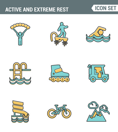 life style: Icons line set premium quality of active and extreme rest holiday weekend sports hobby life style. Modern pictogram collection flat design symbol . Isolated white background