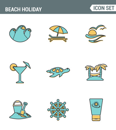 sun block: Icons line set premium quality of beach holiday diving travel worldwide nature vacation. Modern pictogram collection flat design style symbol . Isolated white background Illustration