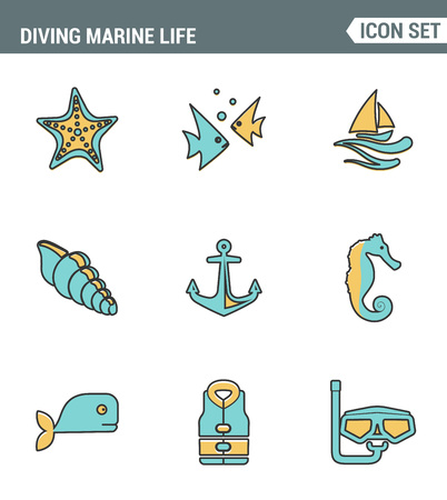 scubadiving: Icons line set premium quality of diving marine life activity sea tropical summer diver equipment. Modern pictogram collection flat design style symbol . Isolated white background