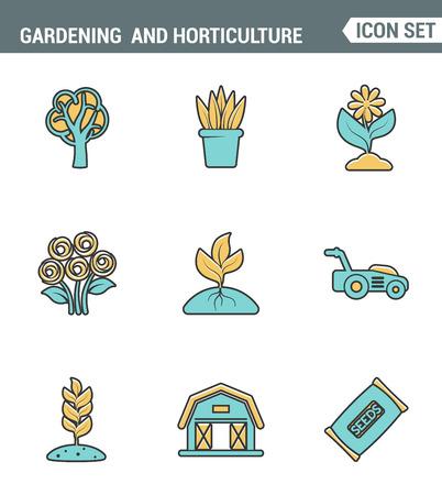 Icons lijn in te stellen premium kwaliteit van het tuinieren en tuinbouw zaden, bloem, bloemen flora. Modern pictogram collectie plat design stijl symbool. Geïsoleerde witte achtergrond Stockfoto