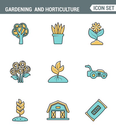 Icons säumen Premium-Qualität der Gartenarbeit und Gartenbau Samen Blumenblumenflora gesetzt. Moderne Piktogramm Sammlung flache Design-Stil-Symbol. Isolierte weißem Hintergrund Standard-Bild