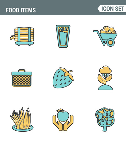 grower: Icons line set premium quality of food Items business industry farm products plant fruit. Modern pictogram collection flat design style symbol . Isolated white background Stock Photo