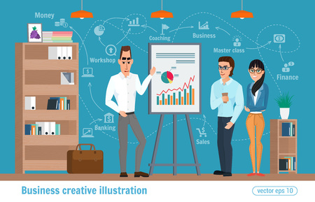 Business creative illustration. Women and man. Businessman character office worker professional.