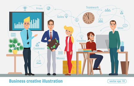 coordination: Business creative illustration. Women and man. Businessman character office worker professional.