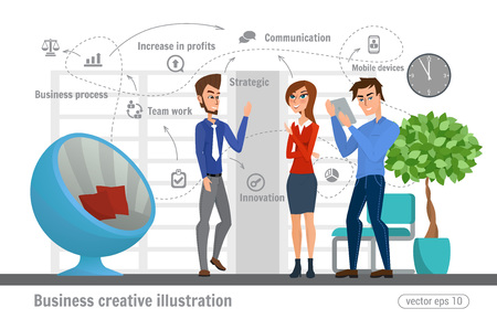 Negocio ilustración creativa. Las mujeres y los hombres. Último hombre de negocios profesional trabajador de oficina. Ilustración de vector