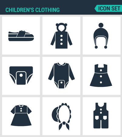 the children s: Set of modern vector icons. Children s clothing shoes, jacket, raglan, cap, diapers, clothes, hat, pants. Black signs on a white background. Design isolated symbols and silhouettes.