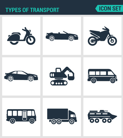Set of modern vector icons. types of transport scooter, convertible, motorcycle, car, tractor, eskalator, bus, truck, tank. Black signs on a white background. Design isolated symbols and silhouettes. 矢量图像