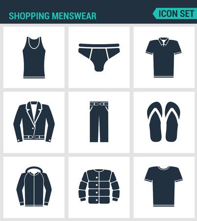 Conjunto de iconos vectoriales modernos. Compras de ropa masculina camiseta, faldas, pantalones, zapatillas de deporte, chaqueta de cuero, camisa, chaqueta. señales negras sobre un fondo blanco. aislado diseño del símbolo y siluetas.