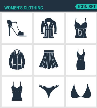 swimming trunks: Set of modern vector icons. Women s clothing shoes, coat, jacket, coat, skirt, dress, t-shirt, swimming trunks, brassiere. Black signs on a white background. Design isolated symbols and silhouettes. Illustration