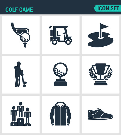 sand trap: Set of modern vector icons. Golf game, car, hole flag, player, ball, cup, pyadestal, reward, sportswear, sneakers. Black signs on a white background. Design isolated symbols and silhouettes.