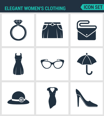women s hat: Set of modern vector icons. Elegant women s clothing ring, skirt, bag, clutch, dress, glasses, umbrella, hat, shoes. Black signs on a white background. Design isolated symbols and silhouettes.