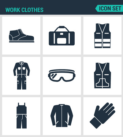 vest in isolated: Set of modern vector icons. Work clothes shoes, bag, vest, working, suit, protective glasses, sweater, gloves. Black signs on a white background. Design isolated symbols and silhouettes.