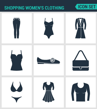 skirt suit: Set of modern vector icons. Shopping women s clothing pants, bathing suit, coat, shirt, sneakers, shoes, bag, dress, skirt, sweater. Black signs white background. Design isolated symbols silhouettes.
