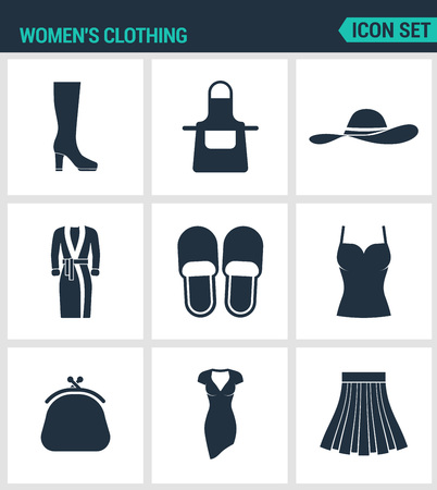 women s hat: Set of modern vector icons. Women s clothing shoes, fartuh, hat, robe, slippers, T-shirt. purse, dress, skirt. Black signs on a white background. Design isolated symbols and silhouettes. Illustration