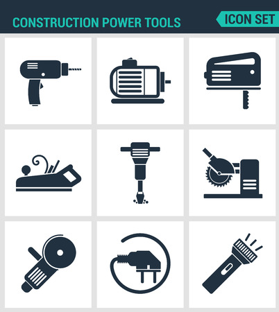 bulgarian: Set of modern vector icons. Construction Power Tools Drill prefarator, saw, planer, pneumatic hammer, Bulgarian, socket, Lantern. Black signs white background. Design isolated symbols silhouettes Illustration