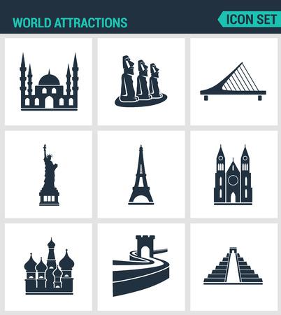 rapa nui: Conjunto de iconos vectoriales modernos. atracciones del mundo de la mezquita, rapa nui, puente, estatua de la libertad, la Torre Eiffel, la Iglesia, de pared, de pirámide. señales negras sobre un fondo blanco. Diseño de los símbolos y las siluetas aisladas.
