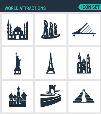 statue liberty: Set of modern vector icons. World attractions Mosque, rapa nui, Bridge, Statue Liberty, Eiffel Tower, Church, Wall, Pyramid. Black signs on a white background. Design isolated symbols and silhouettes. Illustration