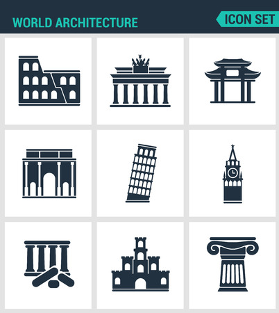 leaning tower: Set of modern vector icons. World architecture Coliseum, gate, china, berlin, Leaning Tower, Big Ben, Greek ruins, Castle, Columns. Black signs white background. Design isolated symbols silhouettes. Illustration