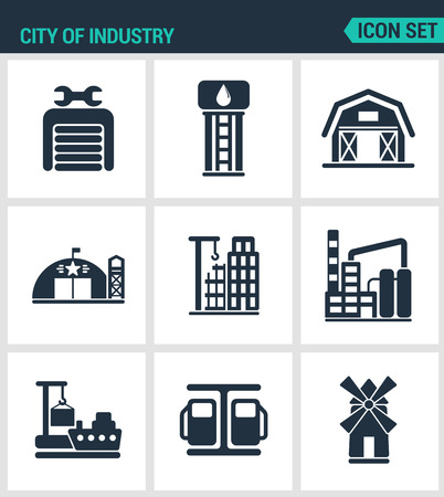 Set of modern vector icons. City of industry garage, pumping station, farm, military base, home, building, plant, port, loading, mill. Black sign white background. Design isolated symbols silhouettes.
