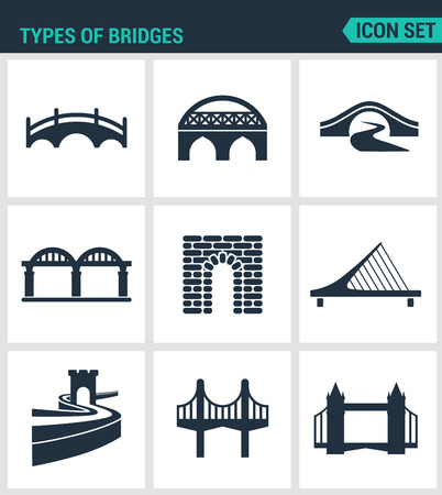 rope bridge: Set of modern vector icons. Types of bridges architecture, construction. Black signs on a white background. Design isolated symbols and silhouettes.