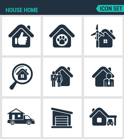 motor home: Set of modern vector icons. House home selling home, shelter animal, power, search, seed agent, motor home, garage, car. Black signs on a white background. Design isolated symbols and silhouettes.