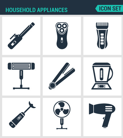 ventilator: Set modern vector icons. Household Appliances hair dryers, curling irons, electric shavers, shaving machine, heater, blender, food processor, ventilator. Black signs white background Design isolated.