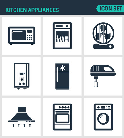 extractor: Set modern vector icons. Kitchen appliances microwave, dishwasher, fan, boiler, refrigerator, blender, extractor hood, gas stove, washing machine. Black signs white background. Design isolated symbol.