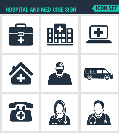 stretcher: Set of modern vector icons. Hospital, rescue, paramedic, people in a hurry, maca, hospital helicopter, stretcher, helicopter view. Black signs white background. Design isolated symbols silhouettes.