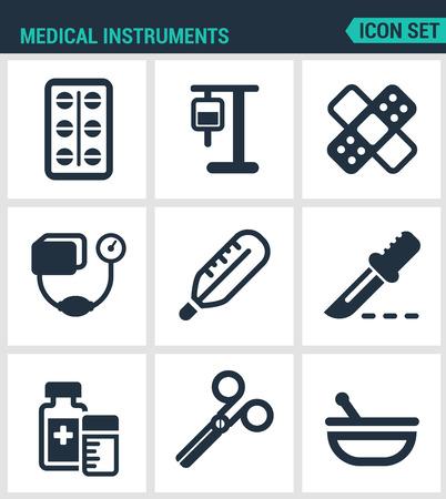 tonometer: Set modern vector icons. Medical instruments pills, blood transfusion, dropper, patch, tonometer, thermometer, scalpel, medicine, scissors, drug. Black signs white background. Design isolated symbols. Illustration