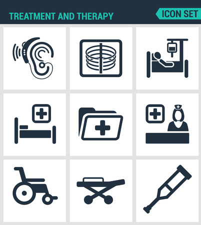 carriers: Set modern vector icons. Treatment and therapy hearing instrument, X-ray, dropper, bed, hospital, folder, doctor, wheelchair, crutches, Carriers. Black signs white background. Design isolated symbols.
