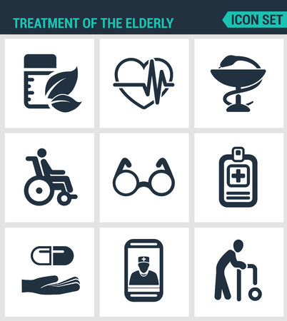 crook: Set modern vector icons. Treatment the elderly medicine, heart palpitations, pharmacy, disabled person, glasses, list pills, phone call, old man. Black signs white background. Design isolated symbols.