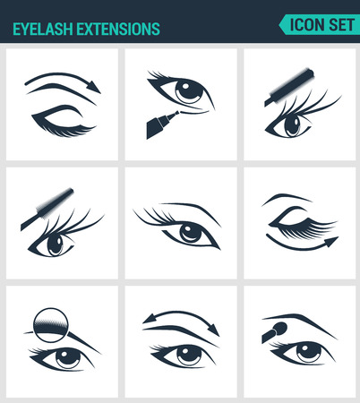 sleepy woman: Set of modern vector icons. Eyelash extensions eyelashes, eyes, mascara, eye shadow, eyebrow, eyeliner, increase. Black signs on a white background. Design isolated symbols and silhouettes.