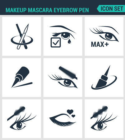 eyebrow makeup: Set of modern vector icons. Makeup mascara eyebrow pen Care for lashes, eyeliner, mascara, pencil. Black signs on a white background. Design isolated symbols and silhouettes. Illustration