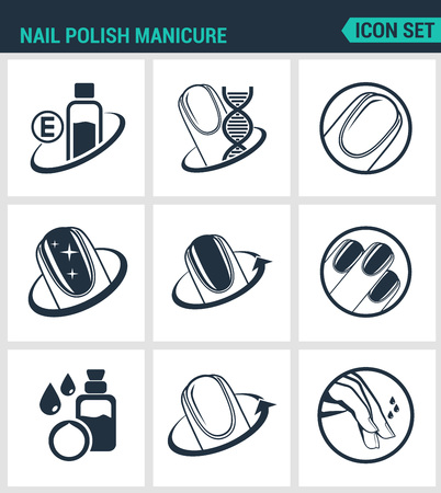 glitter makeup: Set of modern vector icons. Nail polish manicure, care, shine. Black signs on a white background. Design isolated symbols and silhouettes. Illustration