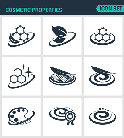 lightness: Set of modern vector icons. Cosmetic properties formula, lightness, softness, texture, color, improved. Black signs on a white background. Design isolated symbols and silhouettes.