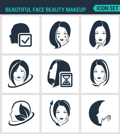 facial hair: Set of modern vector icons. Beautiful face beauty makeup facial, hair, skin, cosmetics. Black signs on a white background. Design isolated symbols and silhouettes Illustration