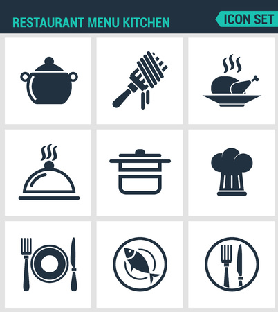 fish plate: Set of modern vector icons. Restaurant menu kitchen bowler, fork, chicken, dish, pot, cook, plate, cutlery, fish. Black signs on a white background. Design isolated symbols and silhouettes. Illustration