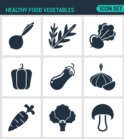 onions: Set of modern vector icons. Healthy food vegetables onions, arugula, beets, peppers, eggplant, garlic, carrots, broccoli, mushroom. Black signs white background. Design isolated symbols silhouettes