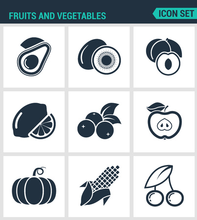 black berry: Set of modern vector icons. Fruits and vegetables avocado, kiwi, apricot, lemon, berry, currant, apple, corn, cherry, pumpkin. Black signs on a white background. Design isolated symbols silhouettes.