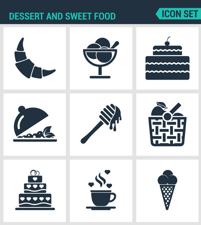 honey cake: Set of modern vector icons. Dessert and sweet food croissant, dessert, cake, fruit salad, honey, apple, basket, coffee, ice creams. Black signs on white background. Design isolated symbols silhouette. Illustration