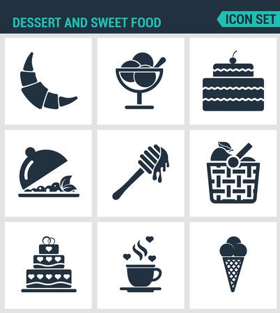 fruit basket: Set of modern vector icons. Dessert and sweet food croissant, dessert, cake, fruit salad, honey, apple, basket, coffee, ice creams. Black signs on white background. Design isolated symbols silhouette. Illustration