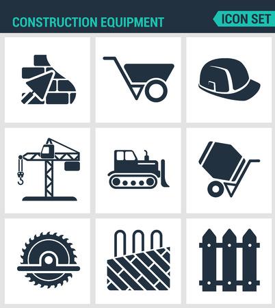 hand shovels: Set of modern vector icons. Construction equipment plaster, wheelbarrow, helmet, crane, bulldozer, cement mixer, saw, insulated floor enclosure. Black signs white background. Design isolated symbols.